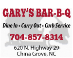 gary's barbeque bbq china grove nc